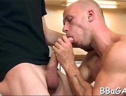 Delightful blow job for gay stud