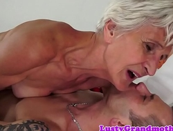 Cockriding granny sucking younger learn of