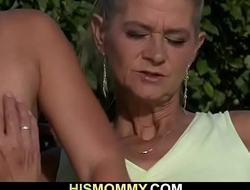 He finds his GF toying old mom pussy