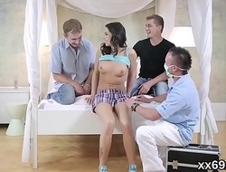 Lover assists with hymen checkup and plowing of virgin chick