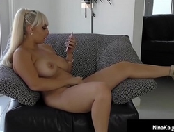 Naughty Nina Kayy Bangs Her Cunt with a Dildo while Sexting!