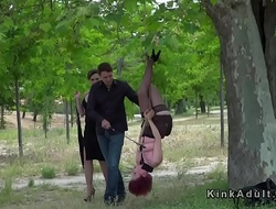 Female sub gets upside down suspension