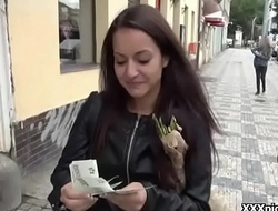 Cutie sexy european babe fuck and suck stiff dick for cash in public 17