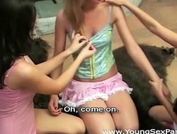 Young Sex Parties - Three teen Gabbi, Karina, Olimpia cuties share cock