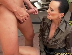 Pee whore gets urinated