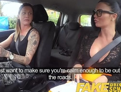Fake Driving School New driver gets a crash course in strap on nance fucking