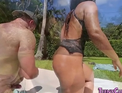 Broad in the beam butt babe rides cock