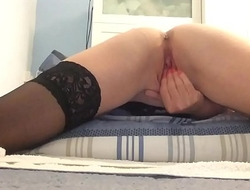 Watch me finger fuck and rub my wet shaved pussy