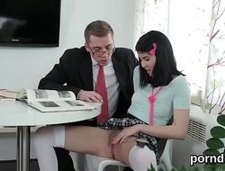 Cuddly schoolgirl is seduced and shagged by her senior tutor