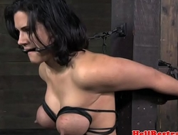 Busty bdsm sub tied and caned by guy