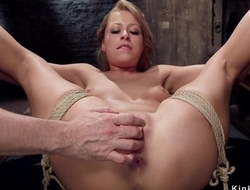 Submissive trainee with natural tits gets her butthole rammed