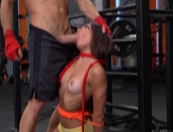 Two cock-craving bitches get fucked hard in the gym