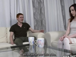Russian bimbo fucks random impoverish right in front of her husband