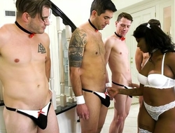 Cock-hungry ebony in white stockings gets gang banged