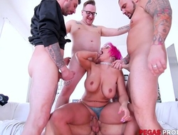Pink-haired mature with glasses serves four hard dicks at in the future