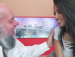 Exotic teen Frida Sante on an old guy